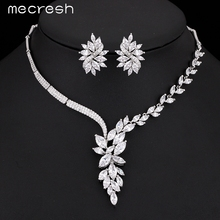 Mecresh Top Cubic Zirconia Bridal Jewelry Sets Silver Color Flower Necklace Earrings Sets Wedding Accessories TL335(China (Mainland))