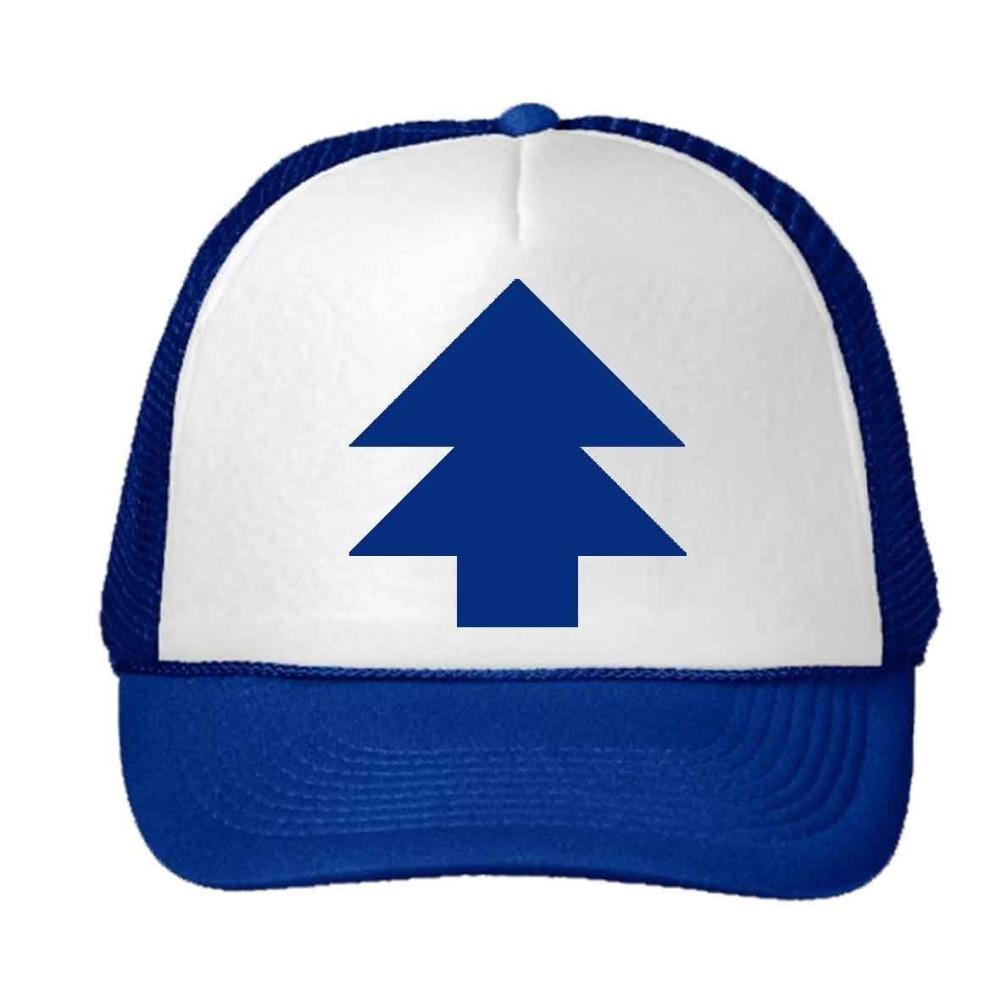 2016 New Curved Bill BLUE PINE TREE Dipper Gravity Falls Cartoon Baseball Cap Trucker Hats for Men Women(China (Mainland))