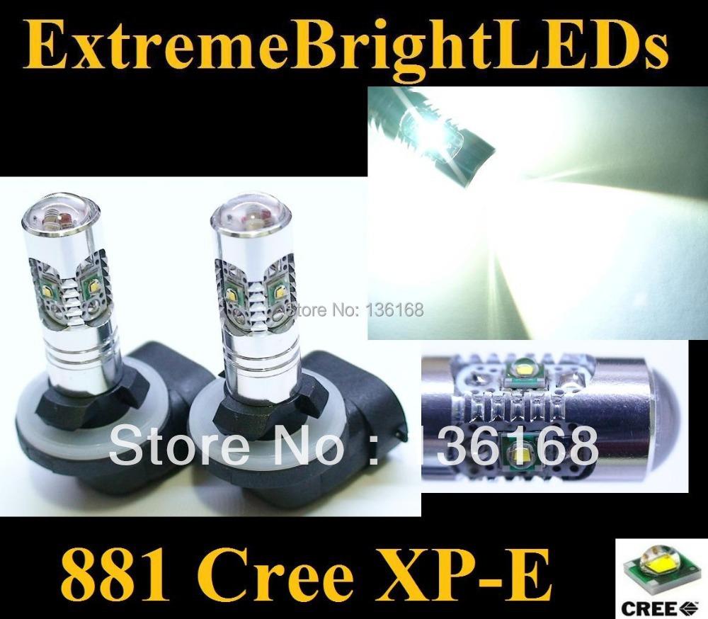 2Pcs Xenon HID White 25W High Power 5 xCree XP-E Chips 881 H27 PGJ13 LED Fog Light Driving DRL Bulbs