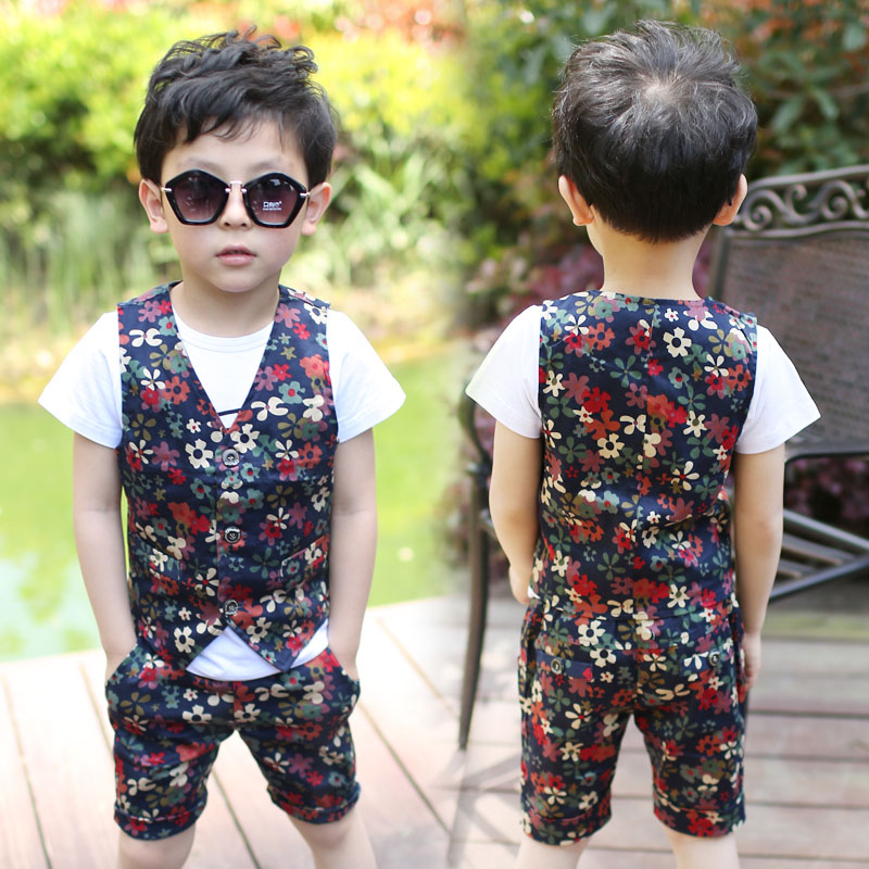 2015 NEW Children Suits Floral Playboy Baby Fashion Costumes Vest + Shorts 2pieces Boys Garment 3-12Yrs Kids Clothing Set(China (Mainland))
