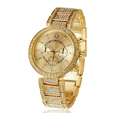 2016 high quality full rhinestones fashion women dress watches Gold and Silver Luxury ladies wristwatches female atmos clock