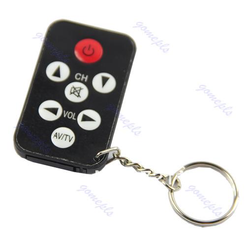 J34 Free Shipping Mini Universal Infrared IR TV Set Remote Control Keychain Key Ring 7 Keys Black(China (Mainland))