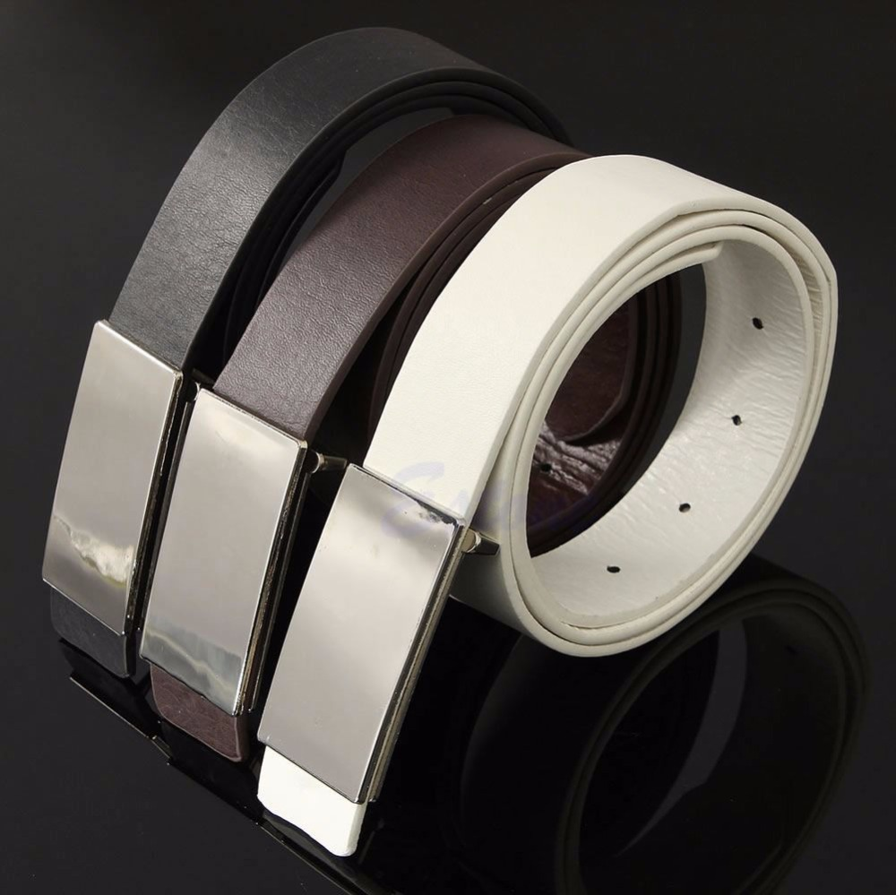 New Mens Faux Leather Metal Automatic Formal Buckle Dress Waist Band Strap Belts(China (Mainland))