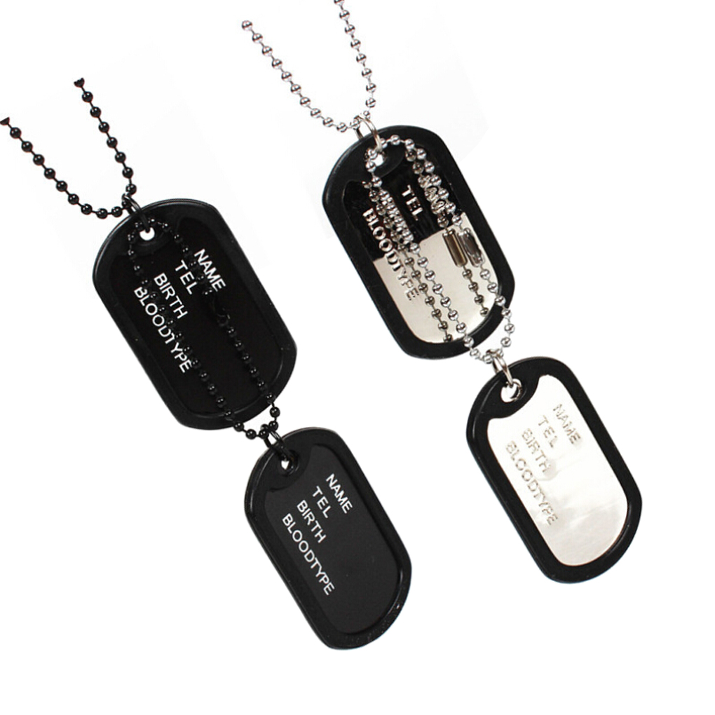 Hot Selling New unique Designer Mens Military Army Style Black 2 Dog Tags Chain Mens Pendant