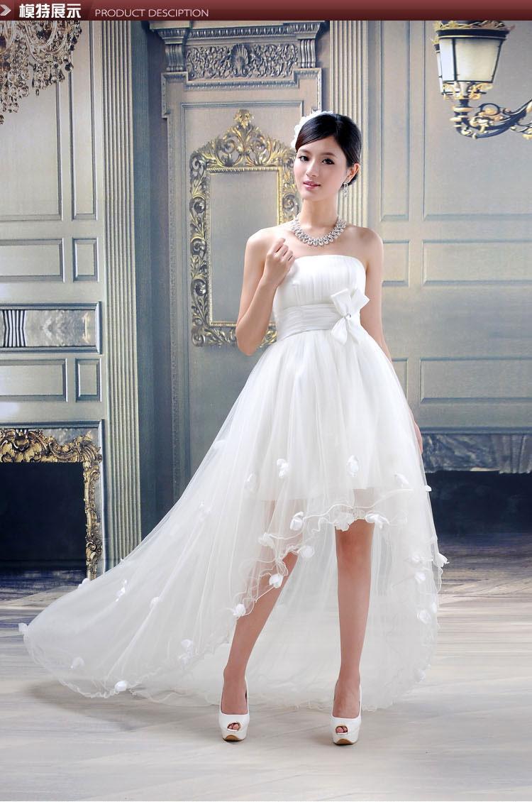 wedding dress mermaid train bride short tube top wedding dress short