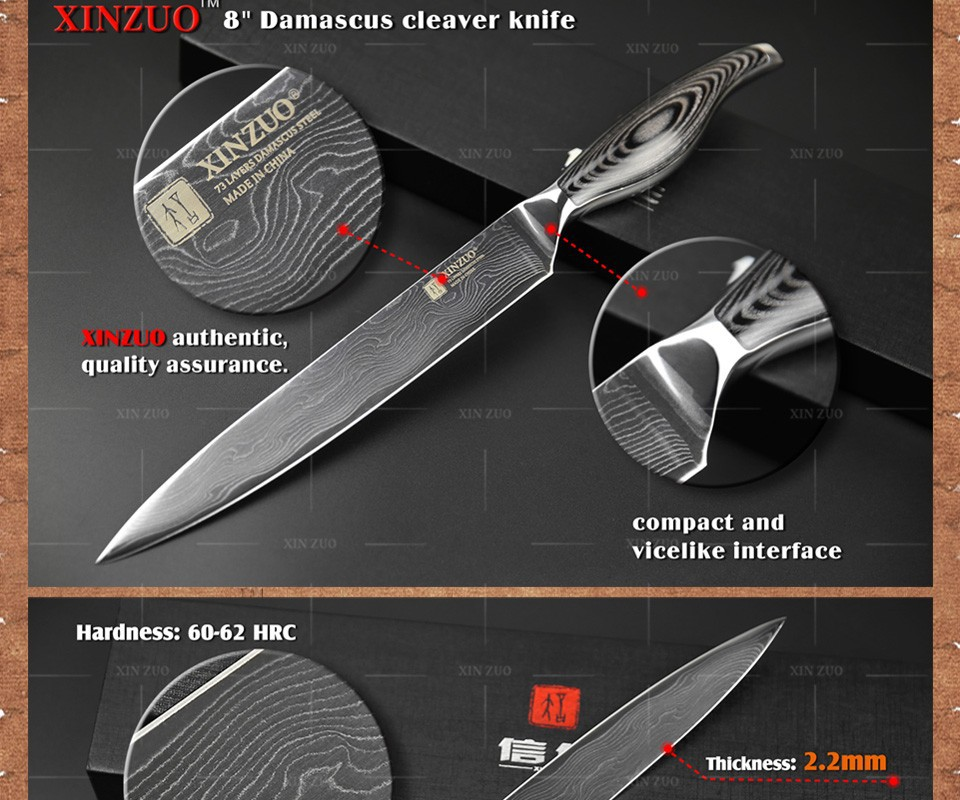 """Buy NEWEST 8"""" inch cleaver knives 73 layers Japanese VG10 Damascus steel slicing/Carving knife wooden and steel handle FREE SHIPPING cheap"""