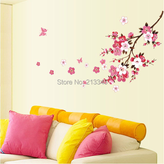 [Saturday Mall] - removable flowers stikers pink peach home decoration wall stickers living room bedroom family wall decal 6730(China (Mainland))