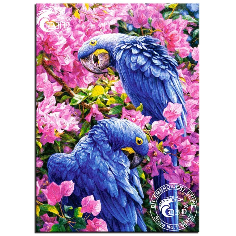 Needlework Diy Diamante Pintura Ponto Cruz Broca completo Azul Papagaio Do Diamante bordado Pintura A Óleo Série Animal Imagem Mosaico(China (Mainland))