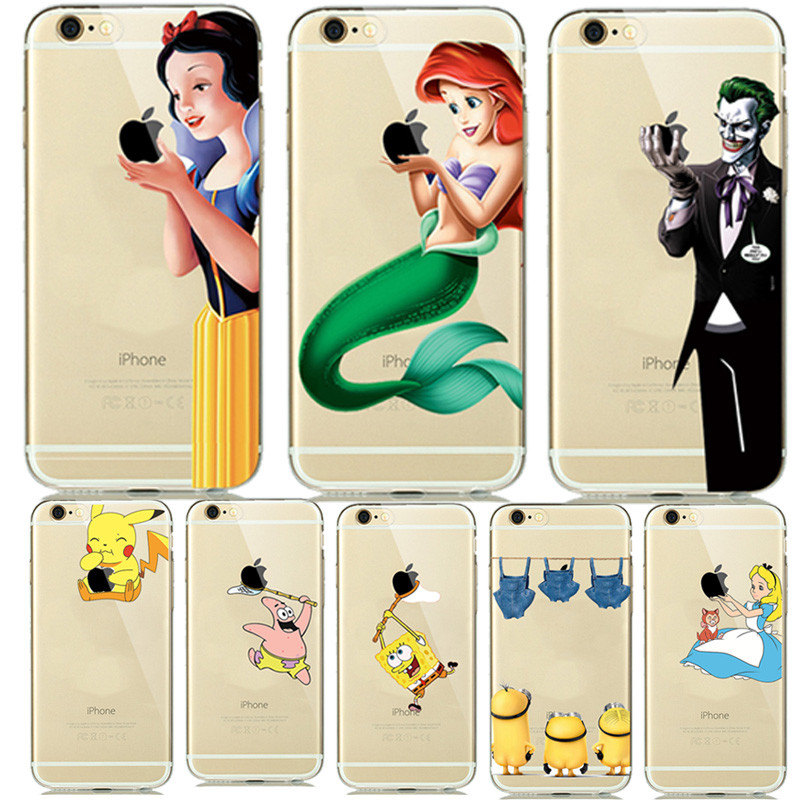 Fashion New Soft TPU Silicone Covers fundas iphone 7 7plus 6 6S 5 5SE Cartoon Animals Phone Cases Pokemons Mermaid Capinhas