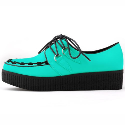 Free ship Shoes Woman PU LEATHER Flat LACE UP GOTH PUNK CREEPERS Women Flats Creepers US SIZE 4-11