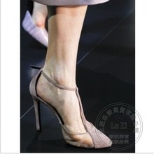 Arrival Pu Hasp Banquet Stiletto Heels Pu Gauze Plain T Strap Designer Shoes For Women Sexy Shoes Formal Autumn Simple(China (Mainland))