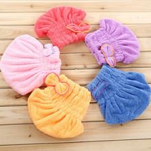 Magic Hair Séchage Rapide Serviette De Bain Cap Wrap Twist Chapeau Bowknot Soild Rapide Bouchon Sec Tête Pour Femmes Dames De Bain outils(China (Mainland))