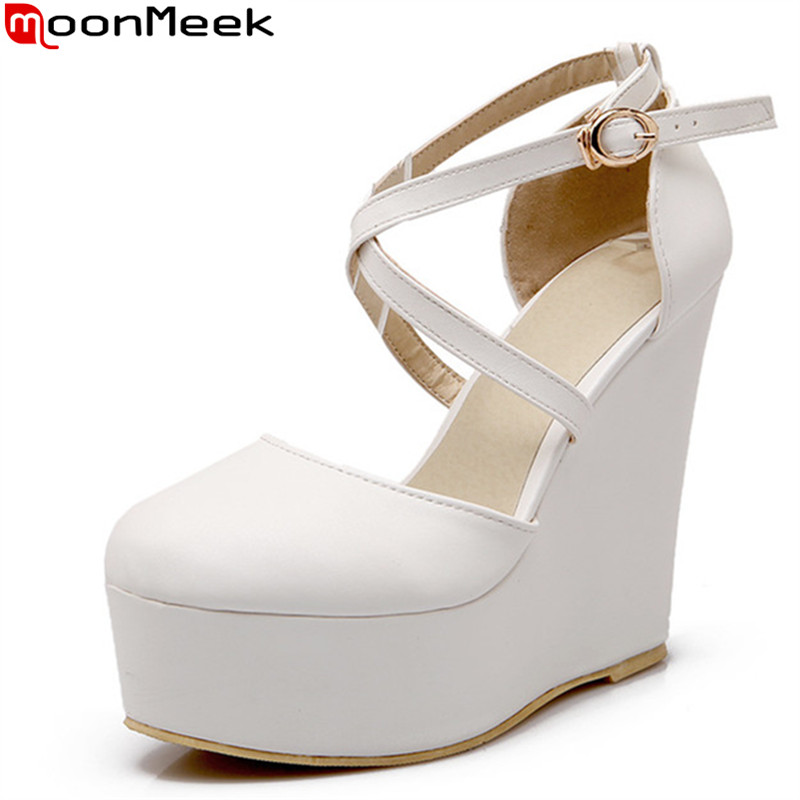 2016 new fashion white red black Wedges shoes high heels Women Pumps Round toe party casual shoes summer platform shoes(China (Mainland))