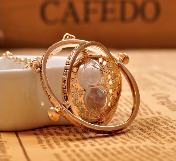 18k gold plated time turner necklace hourglass vintage pendant Hermione Granger for women lady girl wholesale 0131(China (Mainland))