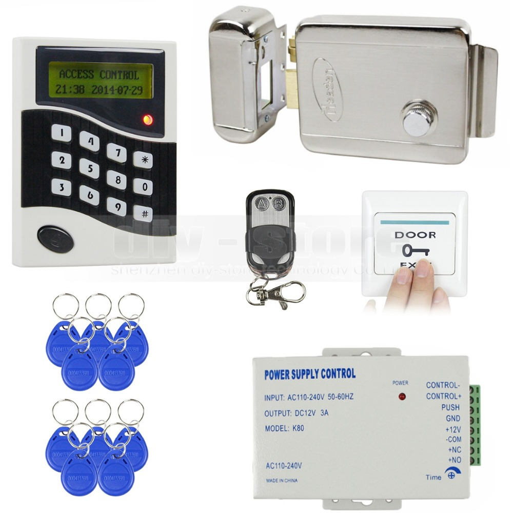 DIY 125KHz RFID ID Card Reader Password Keypad Door Access Control System Kit + Electric Lock + Free 10 ID Key Fobs B100(China (Mainland))