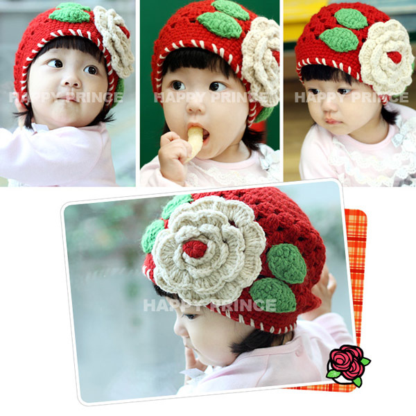 New 1-2 Years Baby Girls Beanie Red Knit Hat Crochet Popular Hollow Design Cap Tap(China (Mainland))