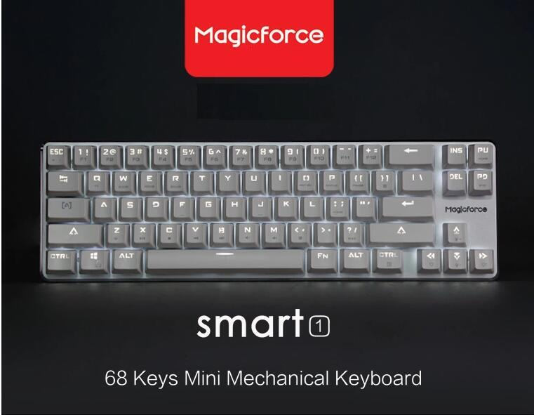 Magicforce Smart 68 Keys White Backlit Antighosting USB Mechanical Gaming Keyboard Alu Alloy Cherry MX Brown Switches Double PCB<br><br>Aliexpress
