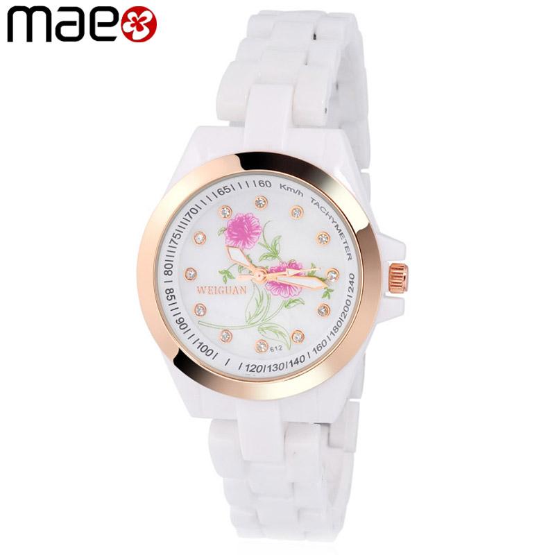 New Hot Ceramic Watches Women Famous Brand Fashion Flower Rhinestone Dial Clock Ladies Quartz Wrist Watch relogio feminino MAE<br><br>Aliexpress