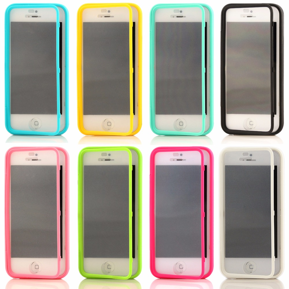 UltraThin Slim Scrub Touch Screen Flip Case for Apple iphone 5 5s 5c 6 6s Soft TPU+PC back Cover Accessories Transparent Case(China (Mainland))