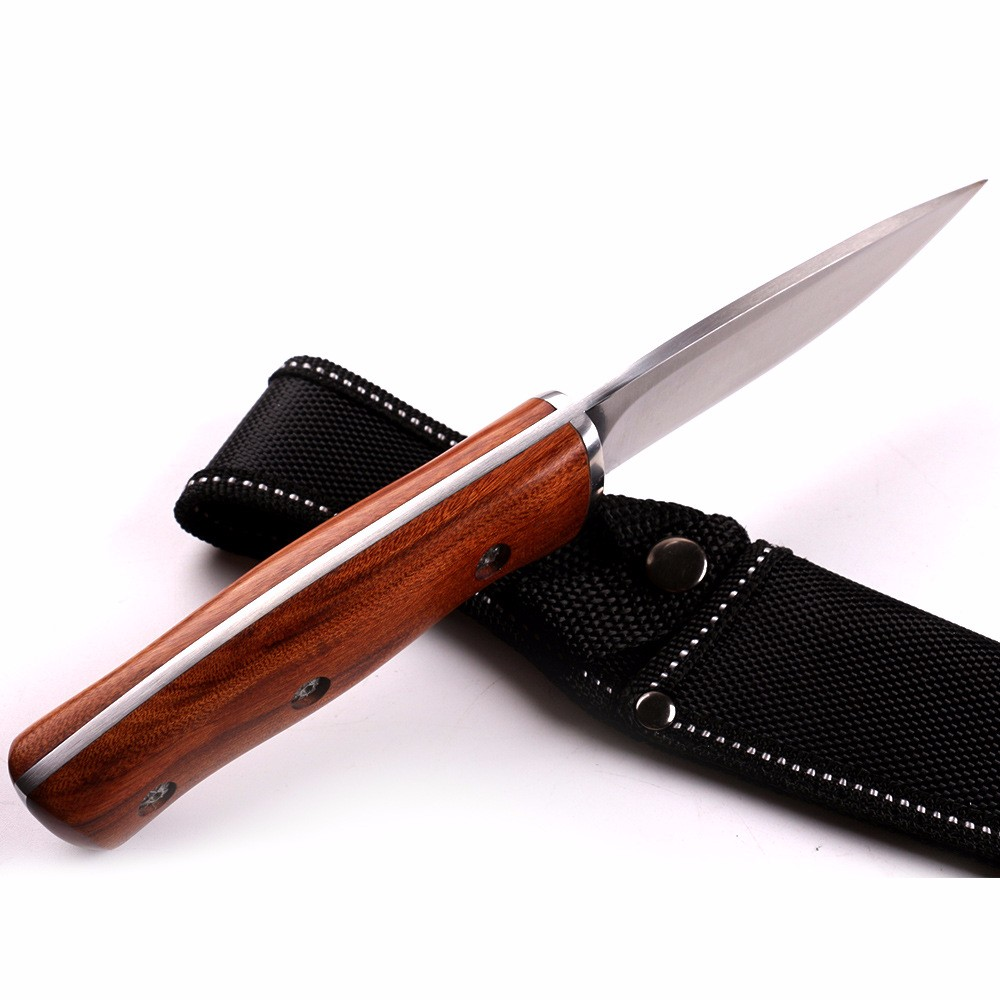 Buy New Buck Fixed Blade Knife 440 Stainless Steel Blade Natural wood Handle Outdoor Hunting Straight Knife Tool cheap