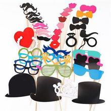 Photo Booth Props 44 Pcs/Set Photobooth For Wedding Birthday Party Photo Booth Props Glasses Mustache Lip On A Stick(China (Mainland))