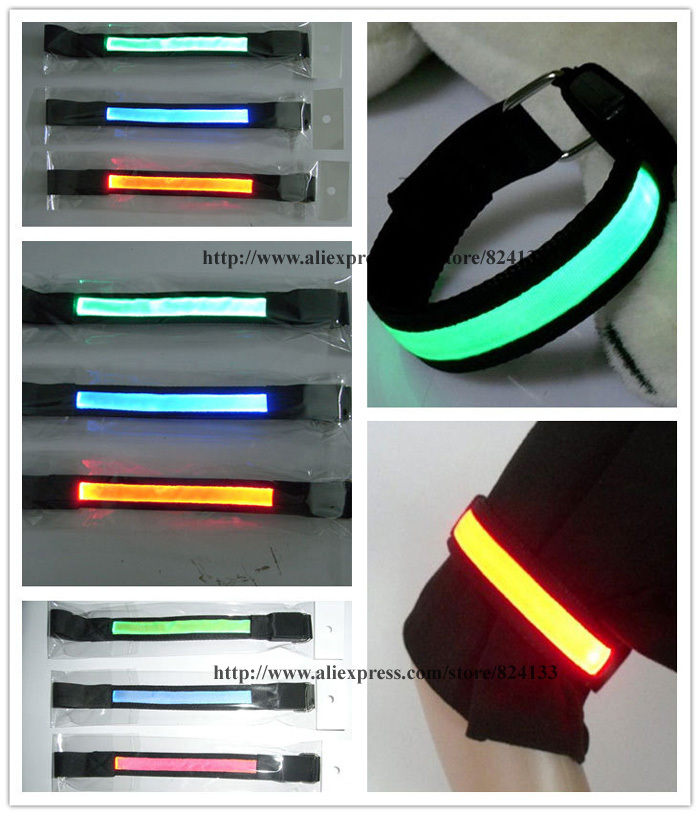 dhl free shipping 100pcs led arm bands,safety colorful armbands,for ourdoor sports running bicycle arm bands(China (Mainland))
