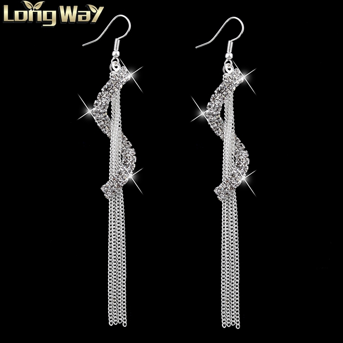 Vintage Tassel Letters Drop Earrings Silver Plated SWA Element Austrian Crystal Dangle Earrings For Women Fashion Bridal Jewelry(China (Mainland))