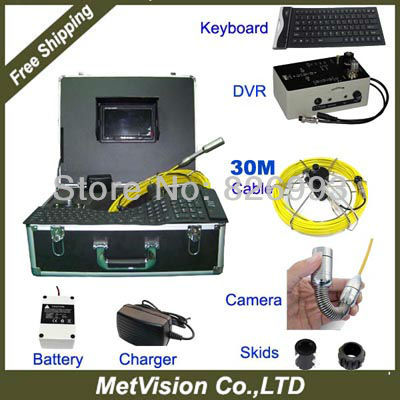 """30M Pipe inspection camera monitor Microphone,7""""LCD screen diplay with DVR recording max32GB with keyboard control(China (Mainland))"""