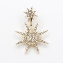 Buy Li & Fang Korea Sun Rhinestone Drop Earrings Star Fashion Women Single Elegant Vintage Crystal Snowflake Earrings Trendy Jewelry for $1.39 in AliExpress store