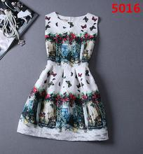 SENS Best Quality Gorgeous Summer Casual Dress New 2015 Fashion Pattern Printed Women Elegant Evening Party Princess Dress A82(China (Mainland))