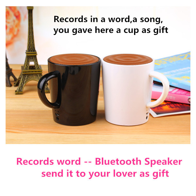 Hot selling- 1pc/lot Unique tea cup speaker bluetooth speaker records in word as gift wireless speaker for your lover(China (Mainland))
