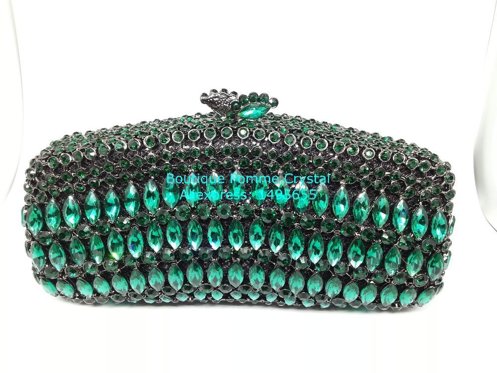 Gift Box Elegant Beryl Crystal Wedding Prom Handbags Ladies Green Diamond Evening Bag Metal Clutch Purse Party Clutches Bags(China (Mainland))