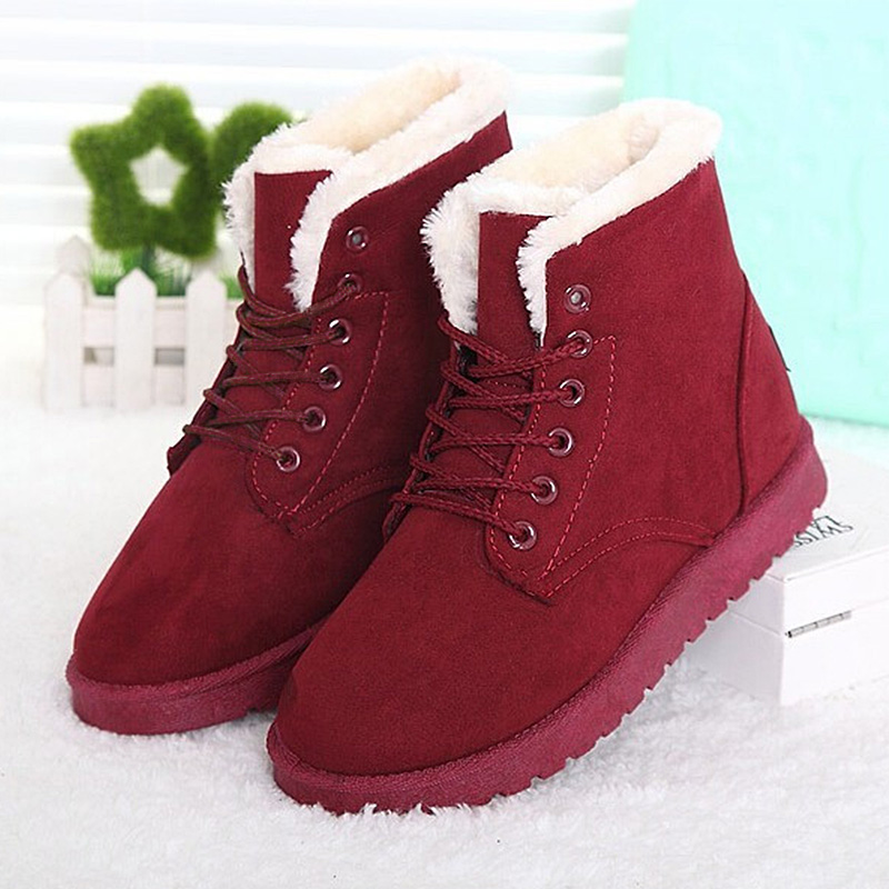 Fashion Women Winter Shoes Ankle Boots 20015 Flats Heel Shoes Woman Boots Winter Fur Boots Ladies Platform Boots Femininas Boots