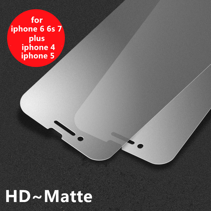 New Hot Matte Frosted Protective Anti Finger Print Front Tempered Glass Screen Protector Film For iPhone 4 4S 5 5S 6 6s 7 Plus(China (Mainland))