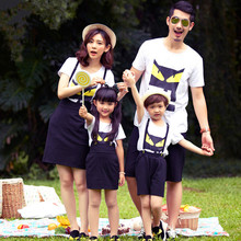 Family Matching Outfits Family Look Mother Daughter Dress Summer Short-sleeved Cotton T-shirt Father Sons Matching Clothes Suit