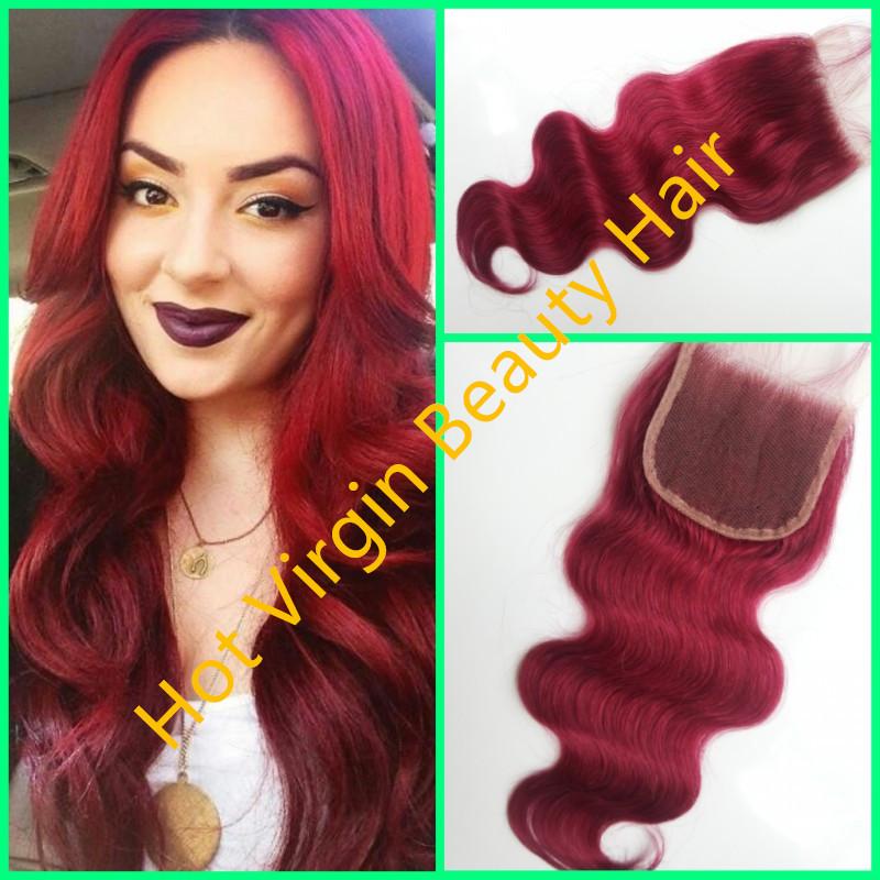 Burmese Human Hair #99J Colour Lace Closure,4*4inch Body Wave Closure,Bleached Knots,Hot Virgin Beauty Virgin Human Hair Closure<br>