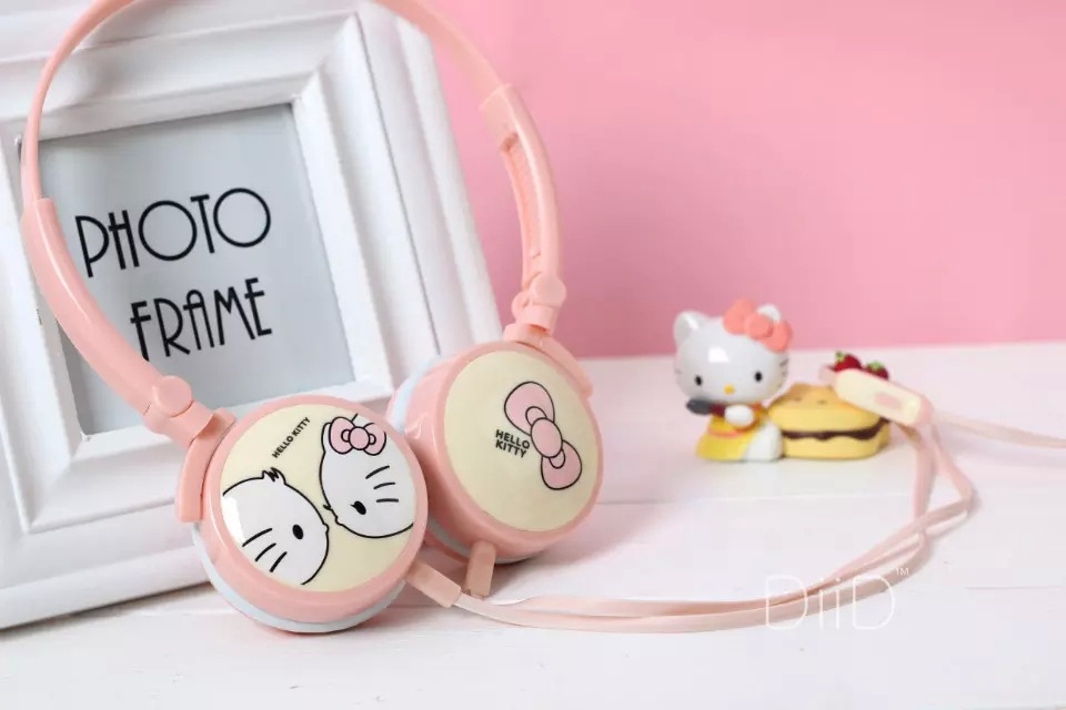 Best Gift Cartoon Hello Kitty Headphones Cheap Universal Foldable Headset with Microphone Earphone for Children fone de ouvido(China (Mainland))