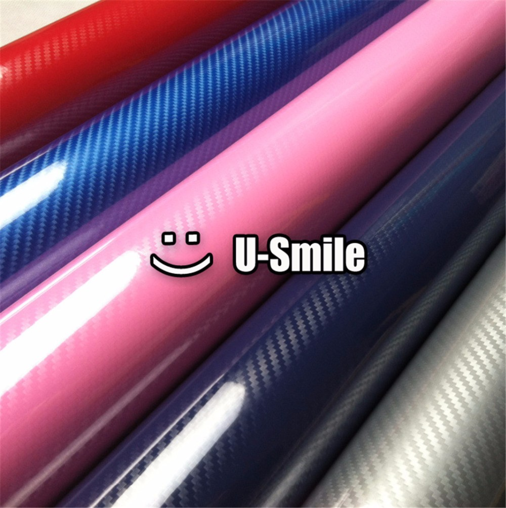 5D Top Grade Shinny Gloss Grey Carbon Fiber Vinyl Wrap Sticker Decal Bubble Free Car Wrapping Size:1.52X20M/Roll