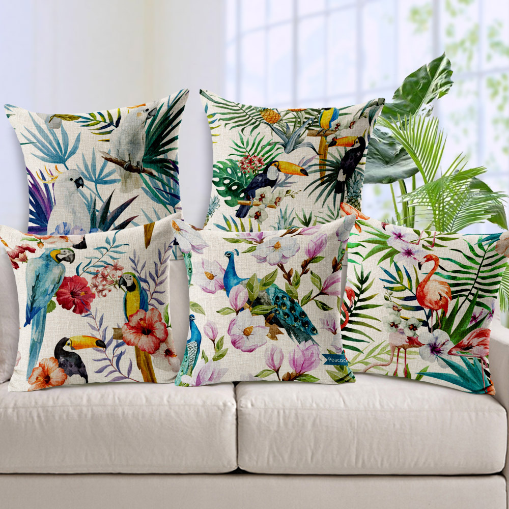 birds flowers pineapple cushion cover bird parrot toucan flamingo peacock pillows case sofa. Black Bedroom Furniture Sets. Home Design Ideas