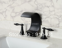 Hot Sale Wholesale And Retail Promotion Oil Rubbed Bronze Waterfall Bath Basin Deck Mounted Sink Mixer Tap Dual Handle(China (Mainland))