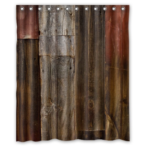 High Quality Mouldproof Bath Curtain Print Vintage Rustic