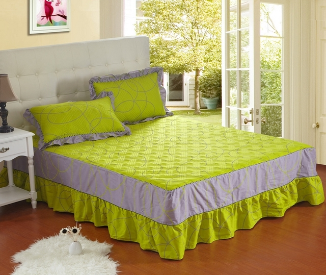FREE SHIPPING! 100% cotton bed skirt fitted 100% cotton home textile bedding kit plus cotton customize