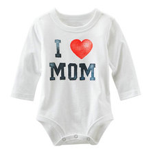 2016 Summer Kids Baby Boys Girl Toddler Cute I Love MOM/DAD Letter Print Romper Black White