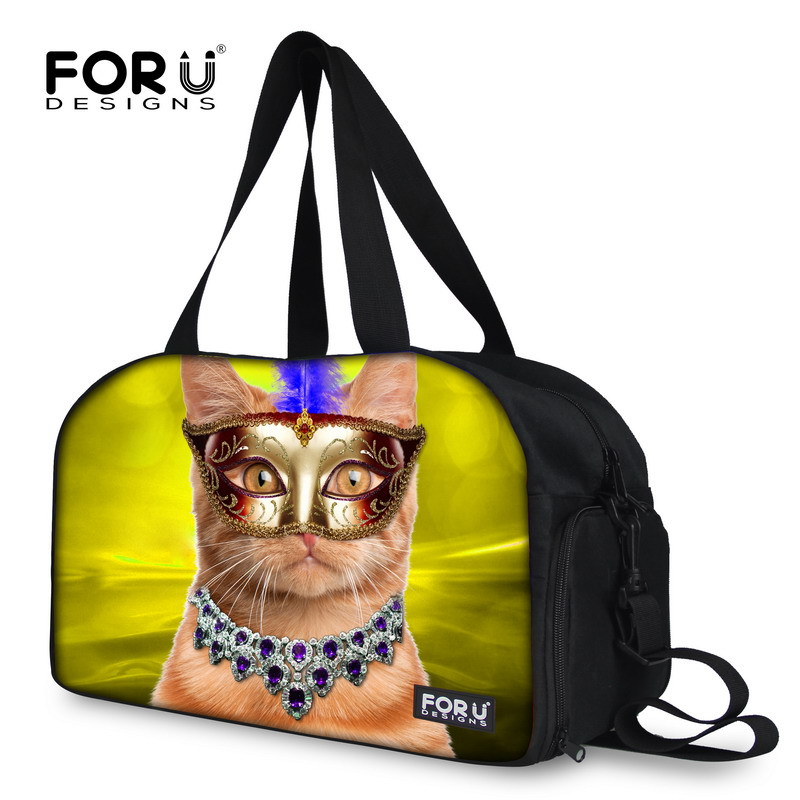 New Brand Animal Print Cat Boarding Bag Travel Accessories Casual Design Soft Cute Duffle Bag for Women Men Foldable Travel Bags(China (Mainland))