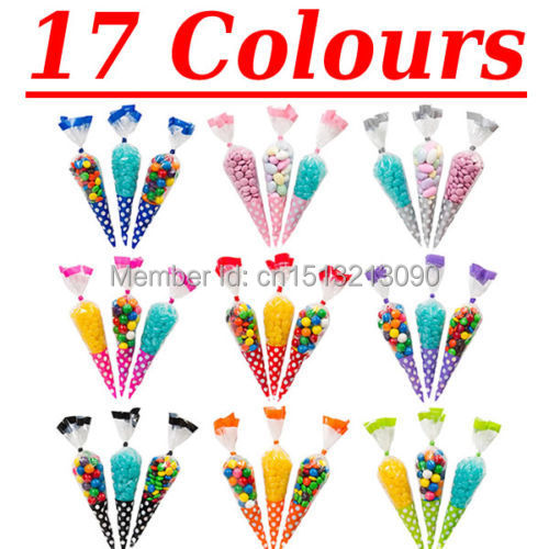 Polka Dot Cello Cellophane Cone Shaped Sweet Candy Treat Display Favor Gift Wedding Birthday Baby Shower Party Decoration Bags(China (Mainland))
