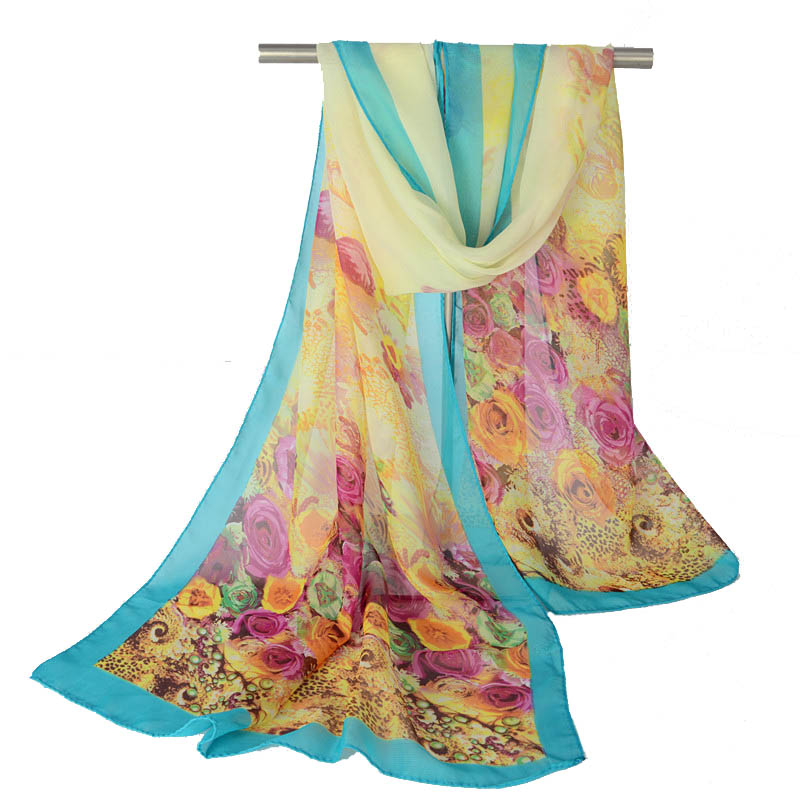 2016 Sunscreen Cape Scarf Georgette Silk Scarves Shawl Lightweight Chiffon Wrap Poncho Beach Cover Up(China (Mainland))