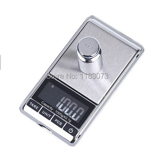 100pcs/lot Brand New 1kg*1g 1000g / 0.1g LCD Electronic Digital Jewelry scale Weighing Portable kitchen scales with package box<br><br>Aliexpress