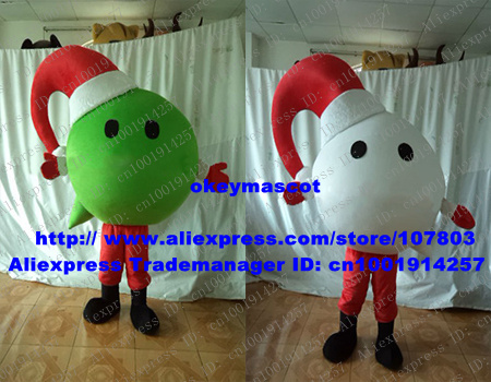 Naughty Green White Christmas Balls Christbaumkugel Xmas Mascot Costume With Red Cone Christmas Hat Big Globe Head No.6840 FS(China (Mainland))