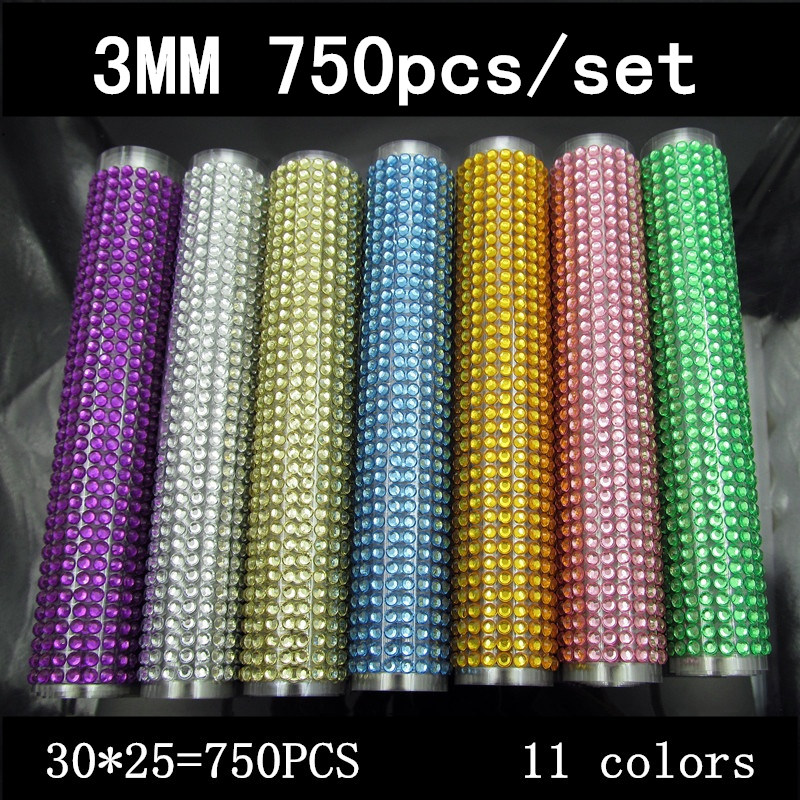 750pcs /set Beauty 3mm Crystals Rhinestones Car Decor Decal Styling Accessories Mobile/pc Art Diamond Self Adhesive Stickers(China (Mainland))