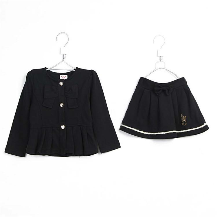 2015 spring new style lady girls clothing sets baby girls long sleeve coat & skirt kid girls fashion clothing with bow A1760(China (Mainland))